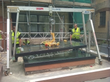 lifting a heavy and awkward item using a aluminium gantry call lift and shift