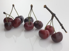 Ceramic Cherries -dark Red Double