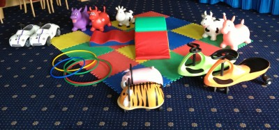 Soft play set with ride on toys