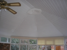 insulated conservatory ceiling.maintenance free,cooler in summer warmer in winter,eliminates glare,reduces rain noise