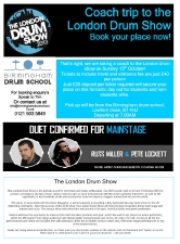 London drum show trip flyer
