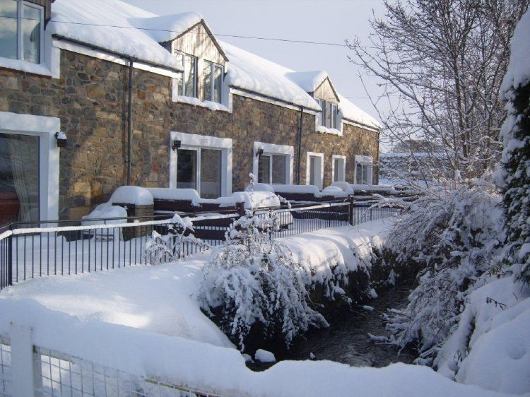 Bluebell Farm Cottages in the snow