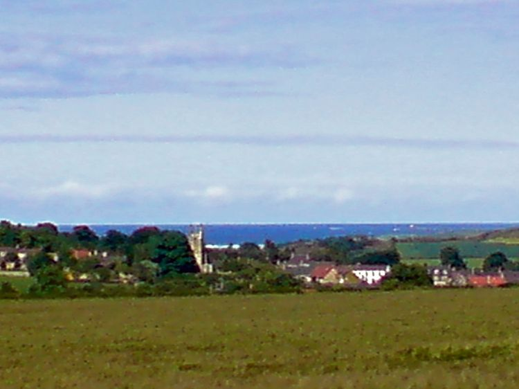 View across Belford to the sea