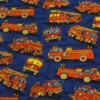 Fire Engines On Dark Blue Background
