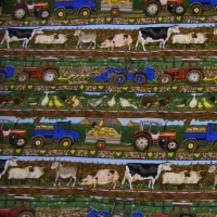 Farm Vehicles And Animals Fabric