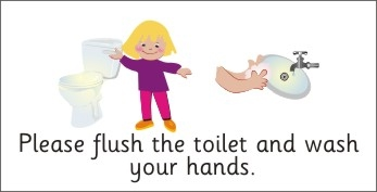 Safety Sign Please Flush The Toilet Amp Wash Hands Girl