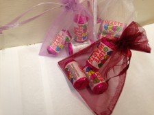 Wine Coloured Organza Bag With Love Heart Sweets
