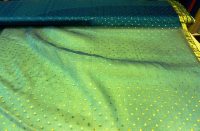 Gold Spotted Organza with Border