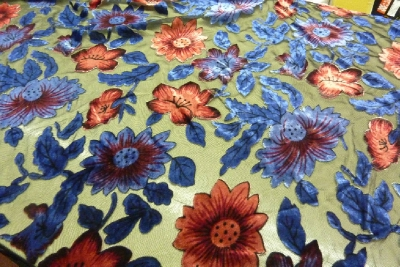Pure Silk Devore Sunflower Design