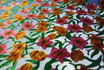 Pure Silk Devore Madagascar Jasmine Design