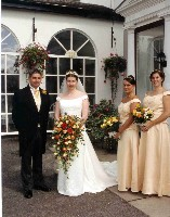 Bride with dad & Bridesmaids All looking lovely