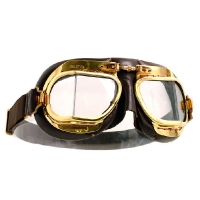 Mark 49 Halcyon Goggles with Polished Brass Frames and Brown Leather