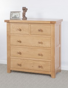 Devon Oak 2 over 3 Chest of drawers