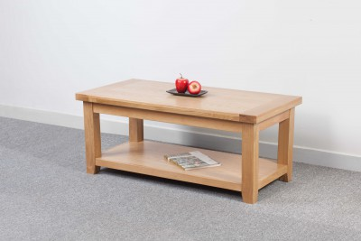 Devon Oak Large Coffee Table with Shelf