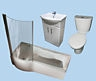 BPSHA Blanco Shower Bath Vanity Unit Suite