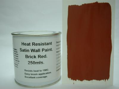 807 1 x 250ml Satin Brick Red Heat Resistant Wall Paint For Wood Burner Stove Alcove