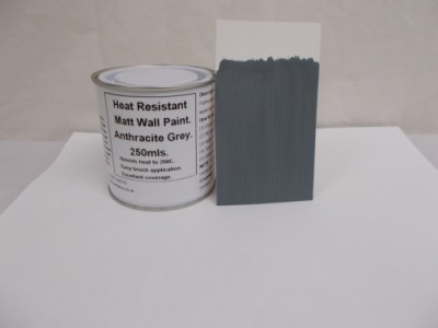 832 1 x 250ml Matt Anthracite / Dark Grey Heat Resistant Wall Paint. Wood Burner Stove Alcove. Brick, Concrete, Plaster, Cement Board, Rendering, Metal, Timber etc