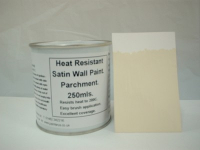 839 1 x 250ml Satin Parchment Heat Resistant Wall Paint. Wood Burner Stove Alcove. Brick, concrete, plaster, cement board, rendering, metal, timber etc. Cream / Off White.