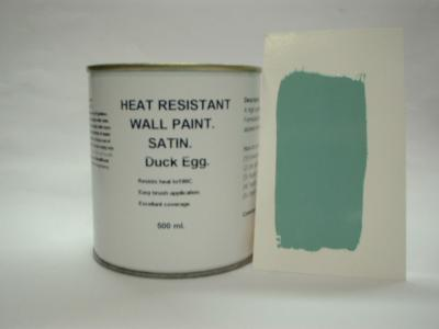 812 1 x 500ml Satin Duck Egg Heat Resistant Wall Paint For Wood Burner Stove Alcove