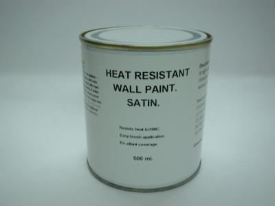 815 1 x 500ml Satin White Heat Resistant Wall Paint For Wood Burner Stove Alcove.