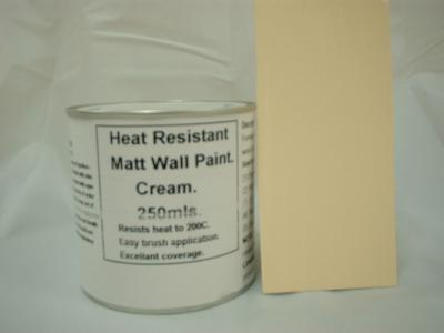 805 1 x 250ml Matt Cream Heat Resistant Wall Paint For Wood Burner Stove Alcove