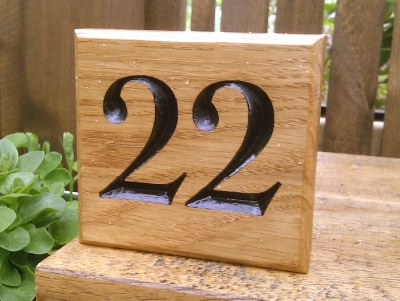 Small simple script number sign house numbers bramble for Minimalist house numbers
