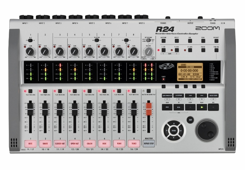 0MGH004 Zoom R24 24-Track Digital Recorder - All in one Recorder, Interface, Controller and Sampler complete with Drum Pads and Included Drum Loops