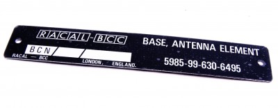 PLATE ID RACAL ANTENNA ELEMENT