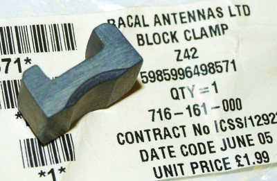 BLOCK CLAMPING RACAL ANTENNAS