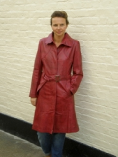 Ladies Longer Length Leather Coat