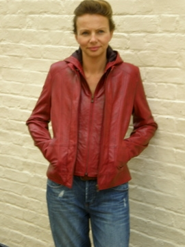 13 LADIES HOODED LEATHER JACKET
