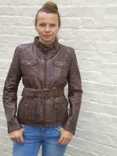 Ladies Short Barbour Style Leather Jacket