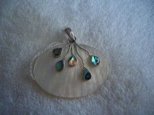 Sterling Silver Pendant With Mother Of Pearl And Paua Shell