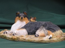 Lying Sheltie and pup �95.00