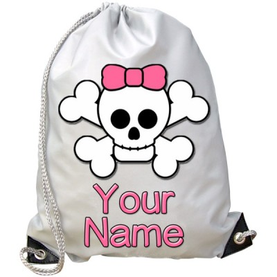 Personalised Cute Skull Gym Bag