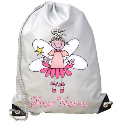 Personalised Pink Fairy Gym Bag