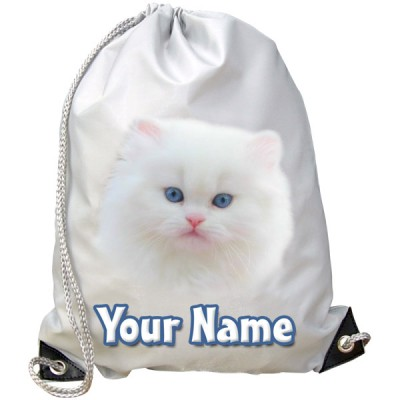 Personalised White Kitten Gym Bag