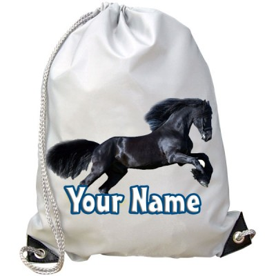 Personalised Black Horse Gym Bag