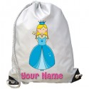 Personalised Blue Princess Gym Bag