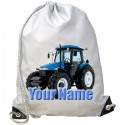Personalised Blue Tractor Gym Bag