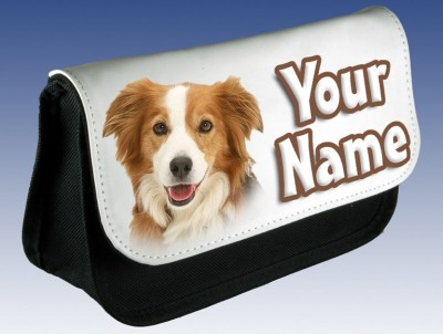 Personalised Border Collie Puppy / Dog Pencil Case