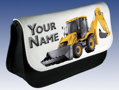 Personalised Yellow Digger Pencil Case