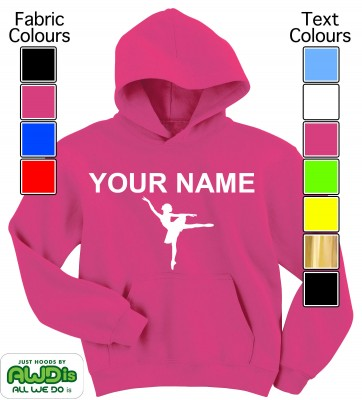 Personalised Kids Ballet Hoodie (Hot Pink)