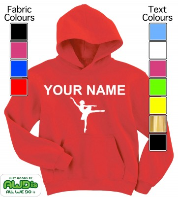Personalised Kids Ballet Hoodie (Red)