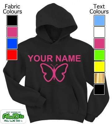 Personalised Kids Butterfly Hoodie (Black)