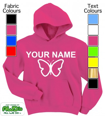 Personalised Kids Butterfly Hoodie (Hot Pink)