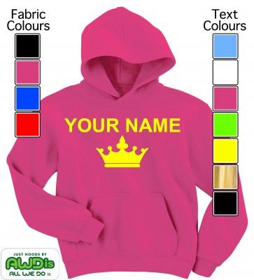 Personalised Kids Crown Hoodie (Hot Pink)