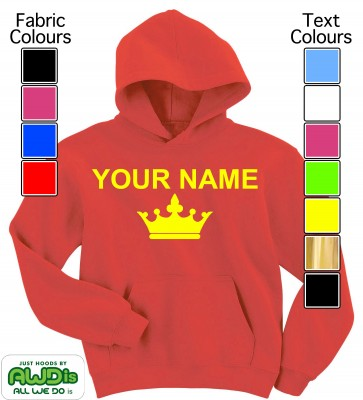 Personalised Kids Crown Hoodie (Red)