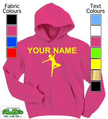 Personalised Kids Dance Hoodie (Hot Pink)