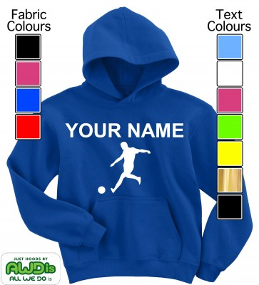 Personalised Kids Football Hoodie (Blue)